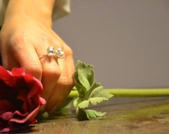 organic flower ring, sterling silver statement ring