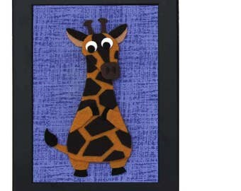 Felt Animal - Giraffe -  Kids Room Decor - 5 x 7 Framed Nursery Wall Art
