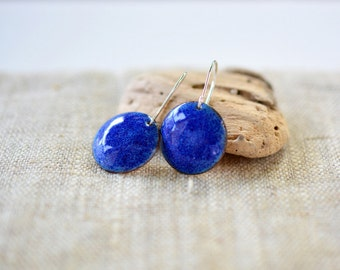 Bright blue enamel earrings - round dangle sterling silver - artisan jewelry by Alery