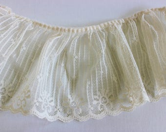 """Creamy Ivory Vintage Lace 3 1/2"""" Wide Various Lengths Available / Weddings / Shabby Chic / Showers / Sewing / Crafts"""
