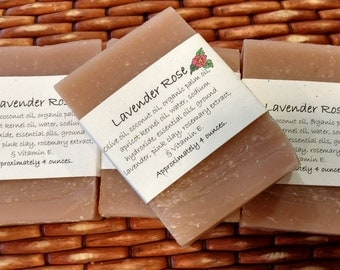 4 Lavender Rose Soap Bars, 4 oz each