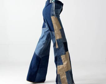 1970s Antonio Guiseppe jeans, denim patchwork bell bottoms, 28 x 36
