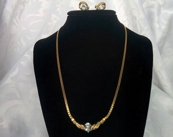 Vintage Aquamarine Gold Tone Jewelry Set, Earrings and Necklace Signed JC