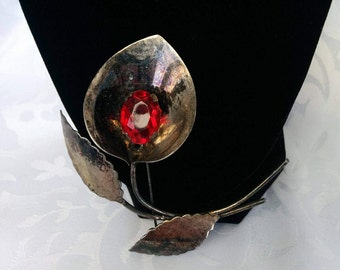 Sterling Silver Calla Lily Brooch With Red Stone, Vintage