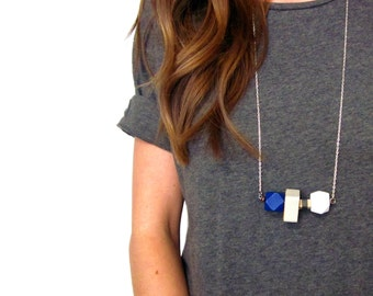 Simple Leather Wrapped Wood Bead Necklace   Modern Wood Bead   Contemporary Jewelry   Long Boho Necklace   Geometric Natural Statement