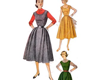 """Sleeveless Jumper Or Dress with Scoop Neckline Blouse Kimono Sleeve 50s Sewing Pattern Vintage Size 13 Bust 31"""" (78 cm) Simplicity 4422 G"""