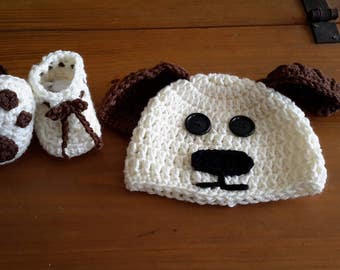 Puppy dog photo prop, puppy hat and paw booties, animal lover, puppy gift set, baby shower gift set, photography prop, READY TO SHIP