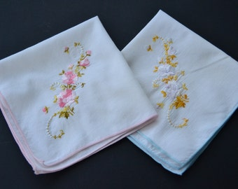 Vintage Womens Handkerchief Embroidered Pink and Yellow Floral Hanky set of 2