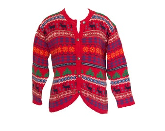 Vintage Christmas Cardigan Sweater Kids Size Large