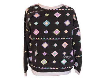 Vintage 80's Saved by the Bell Geometric Sweatshirt by Greenie Size Large