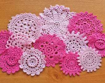 12 Pink Vintage Hand Dyed Crocheted Doilies, 2.5 to 4.5 inch Crochet Doilies for Crafts, Crocheted Mandalas, Doilies for Dream Catchers