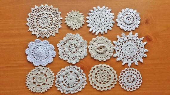 12 Vintage Doilies,  Ecru, Ivory, Beige, White, Cream Colors, Vintage Crochet Doily Coaster Medallions, Hand Crocheted Doilies Set