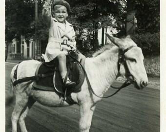 "Vintage Photo ""The Cutest Little Cowboy"" Snapshot Antique Photo Old Black & White Photograph Found Paper Ephemera Vernacular - 79"