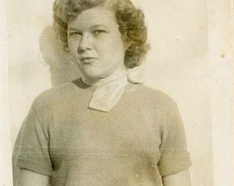 "Vintage Photo ""The Girl Who Didnt Speak"" Snapshot Antique Photo Old Black & White Photograph Found Paper Ephemera Vernacular - 142"