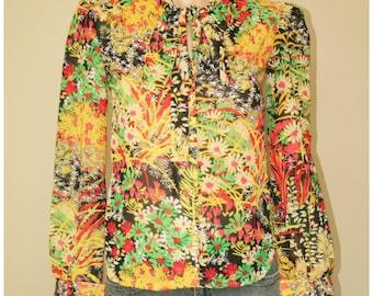 Vintage Hippie Boho Mod Bold Floral Semi Sheer 60s 70s Blouse Shirt Top sz S XS