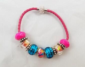 Pink & Blue Beaded Bracelet