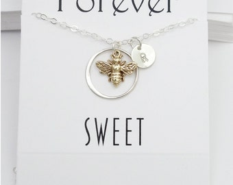 Personalized Gift For Women Bee Necklace Jewelry Set, Sweet 16th Birthday Gift, Personalized Mom Necklace Earrings Holiday Gift Bee Necklace