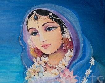 Radha lotus eyed Krishnas gopi portrait feminine beauty divine qualities Radharani syamarts canvas archival prints vedic art