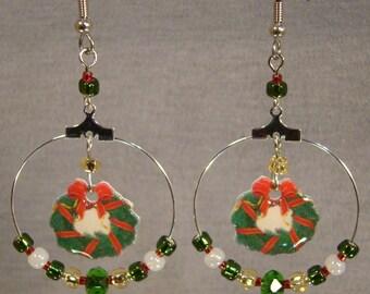 Christmas Wreath Beaded Hoop Dangle Earrings - Holiday Jewelry