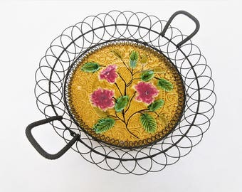 Antique Majolica | Majolica Pottery Plate | Wall Wire Basket | Villeroy and Boch