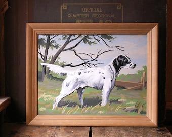 Vintage Framed Dog Paint By Number - Pointer Springer Spaniel Hunting Dog