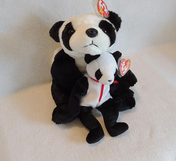 "2 Ty NWMT Pandas.. 13"" Beanie Buddies ""Peking"" And  8"" Beanie Baby ""Fortune"".. Mom & Baby"
