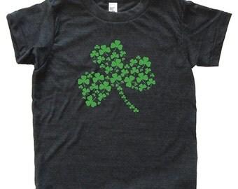St Patricks Day Shamrock Shirt - Youth Boy TShirt / Super Soft Kids Tee Sizes 2T 4T 6 8 10 12 - Triblend Black or Poly Neon Blue