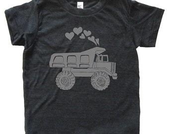 Valentines Day Dump Truck Hearts Shirt - Youth Boy TShirt / Super Soft Kids Tee Sizes 2T 4T 6 8 10 12 - Heather Black