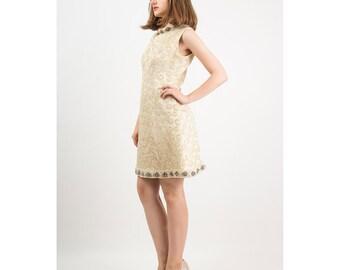 Vintage brocade mini dress / 1960s heavily beaded gold shift dress S M
