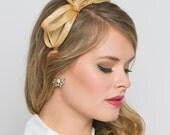 Mini Champagne Gold Fascinator - Flitter-by Mesh Fascinator Headband