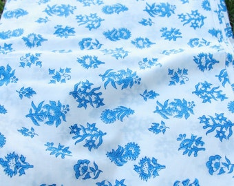 """Blue, White Floral Hand Block Print 100% Cotton Fabric, 1 yard x 43"""", Traditional Indian Block Print Yardage, Sewing Supply, for Tablecloth"""