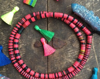 Block Party Vinyl Record Beads, Vintage African, Pink, Black, 8mm Fall Fashion, Tribal Jewelry Making Supply, Heishi Discs, Boho Fashion