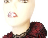 Ruffled Collar Red Gothic Lace Elizabethan Neck Ruff Victorian Steampunk Queen Black