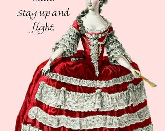 Never Go To Bed Mad. Stay Up And Fight. Pretty Girl Postcard. Funny Card. Funny Quote. Funny Postcards. Marie Antoinette. Red. Funny Sayings