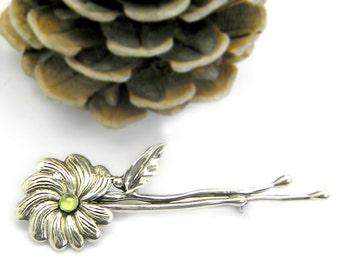 Big floral brooch sterling silver branch pin twig flower and leaf  handmade peridot brooch green gemstone botanical pin