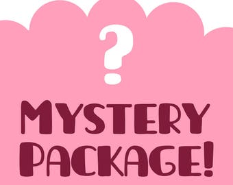 Mystery Package, Surprise bag, grab bag, mystery box, surprise gift, goodie bag, illustration, art, body positive, wall art, pin up, cartoon