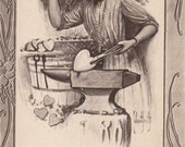 Sparks From An Old Anvil- 1910s Antique Postcard- Lady Blacksmith- Edwardian Valentine- Forging Hearts- Romance- Monro Art Paper Ephemera
