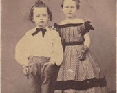 Fred and Ada Scott- 1800s Antique Photograph- Victorian Children in Mourning- Identified Portrait- CDV Photo- 19th Century- Paper Ephemera