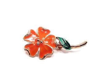 Orange Green Vintage Flower Brooch Taiwan Enameled Gold Tone Retro 1980s Spring Jewelry