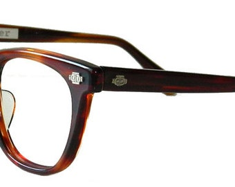Mens Vintage 1960s Amber Eyeglass Frames Never Used