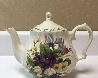 Vintage Churchill Teapot Floral Purple Iris Clematis Tea Pot Made In Romania - #A2844