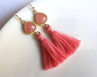 Gold Pink Tassel Earrings. Coral Pink Tassel Earrings. Gold Dangle Earrings. Long Earrings.Statement Earrings.Simple Gold Earrings.Christmas