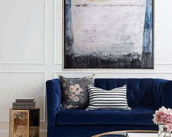 "54"" large  painting   blue  creme abstract  painting  nice acrylic painting from jolina anthony"