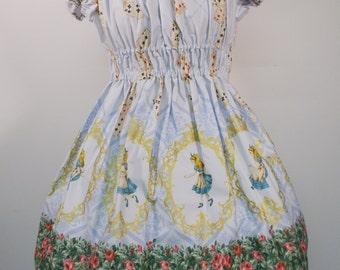Alice in Wonderland Golden Cameo Dress: Blue