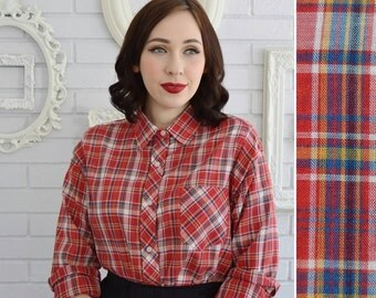 Vintage 1970s Red Plaid Long Sleeve Blouse with Bust Pocket by Sears Size Medium or Large