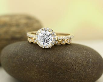 1ct Forever One Moissanite Near-Colorless Engagement Ring Set  Diamond Wedding band In 14k Yellow Gold Gem1378