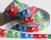 "PJ Masks Ribbon Grosgrain 5 yards 7/8"" Chevron Ribbon Hair Bows Boys Birthday Party Favor Ties Red Green Blue Superhero Ribbon Catboy Gekko"