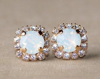 NEW Swarovski White Opal Stud Earring,Halo Stud Post,Clear Crystal Halo Earring,Crystal Stud Post,8mm Stud,Bridesmaids,Everyday,Golden Gold