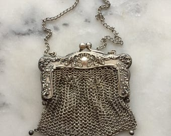 Antique 1920 Flapper Art Nouveau Reprousse Chainmail ChainMaille German Silver Coin Purse Bridal