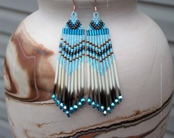 Teal Porcupine Quill Earrings - 3 Inch Long Fringe Earrings - Lightweight Seed Bead Earrings - Tribal Style - OOAK Gift for Her - Aqua Blue